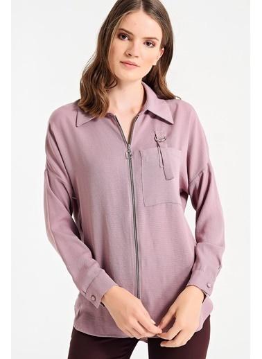 Jument Yakalı Fermuarlı Cep Apoletli Uzun Kol Gömlek Lila